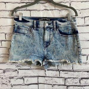 Express Acid Wash High Rise Raw Hem Short Shorts